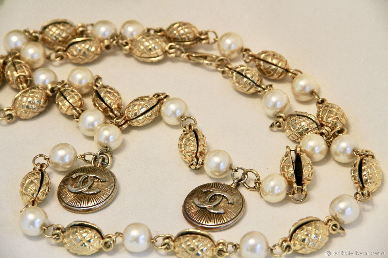 """Винтаж: Подлинные бусы """"Chanel"""" золотые бобы с жемчугом, Винтажные колье, Рязань,  Фото №1"""