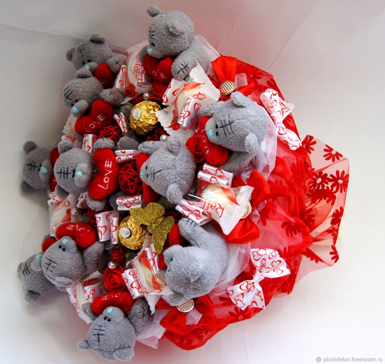 "Букет из игрушек и конфет""Тедди с конфетами премиум "", Букеты, Москва, Фото №1"