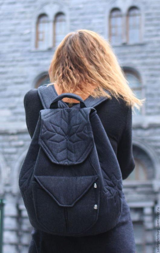 Рюкзаки ручной работы. Ярмарка Мастеров - ручная работа. Купить Тёмно-серый рюкзак со стёганными элементами. Handmade. лён