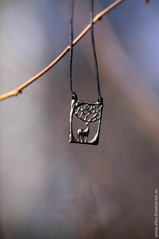 """Кулоны, подвески ручной работы. Ярмарка Мастеров - ручная работа. Купить """"Ветвистый олень"""" кулон. Handmade. Кулон из мельхиора, мельхиор"""