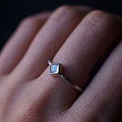 Украшения handmade. Livemaster - original item A thin textured silver ring with a square moonstone. Handmade.