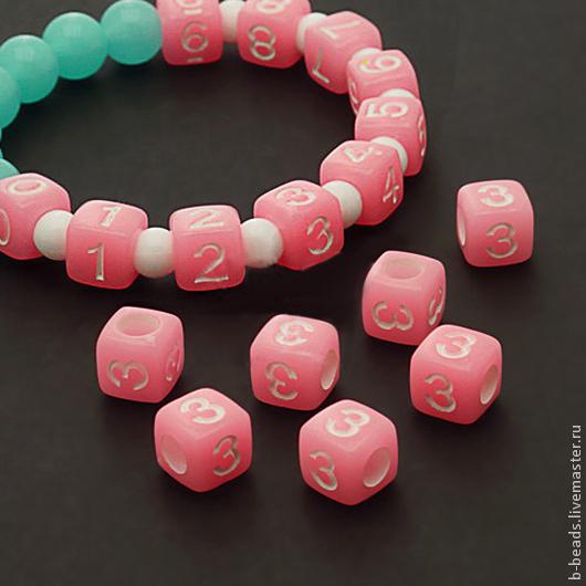 Для украшений ручной работы. Ярмарка Мастеров - ручная работа. Купить Бусины люминисцентные цифра 3 ( розовые ). Handmade.