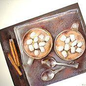 Картины и панно handmade. Livemaster - original item Afternoon tea for two pastel Painting (beige gray-purple coffee). Handmade.