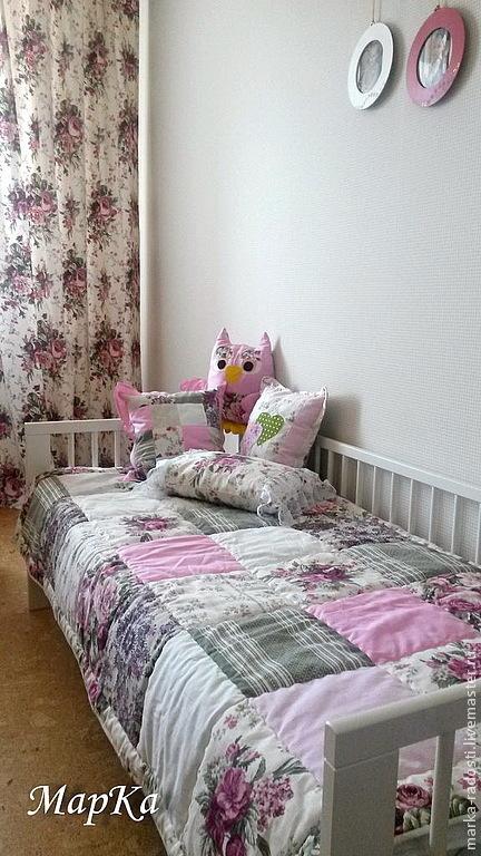 Пледы и одеяла ручной работы. Ярмарка Мастеров - ручная работа. Купить Одеяло лоскутное детское Прованс. Handmade. Бледно-розовый