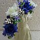 """Диадемы, обручи ручной работы. Ярмарка Мастеров - ручная работа. Купить """"Черника и белые розы"""" ободок-венок для фотосессии, свадьбы. Handmade."""