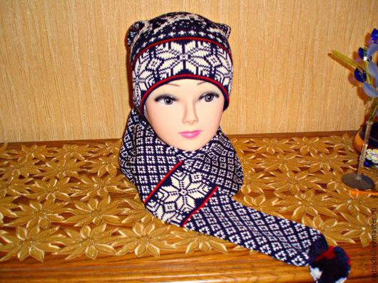 Шарфы и шарфики ручной работы. Ярмарка Мастеров - ручная работа. Купить Шапка-шарф Норвежские звезды продано. Handmade.
