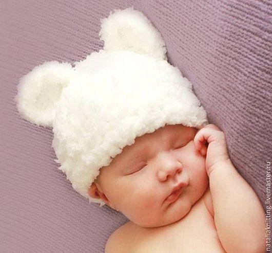 """Для новорожденных, ручной работы. Ярмарка Мастеров - ручная работа. Купить """"Мишка белый плюшевый"""". Handmade. Белый, шапочка крючком"""