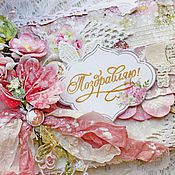 """Открытки ручной работы. Ярмарка Мастеров - ручная работа Открытка """"Нежно-розовый букетик"""". Handmade."""