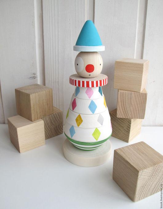"""Развивающие игрушки ручной работы. Ярмарка Мастеров - ручная работа. Купить разноцветная пирамидка """"Клоун"""". Handmade. Комбинированный, клоун, пирамида"""