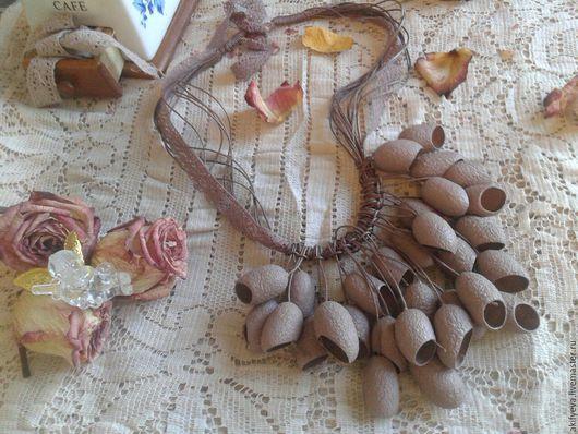"""Колье, бусы ручной работы. Ярмарка Мастеров - ручная работа. Купить Колье из коконов тутового шелкопряда """"Какао"""". Handmade. Какао"""