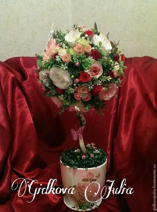 """Топиарии ручной работы. Ярмарка Мастеров - ручная работа. Купить Топиарий """"Розовые розы"""". Handmade. Топиарий, флористические материалы"""