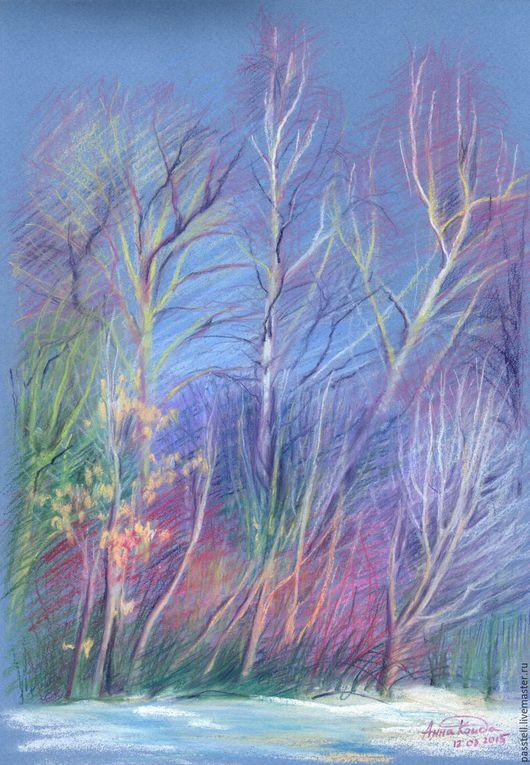 Пейзаж ручной работы. Ярмарка Мастеров - ручная работа. Купить Картина пастелью Дыхание весны - пробуждение. Handmade. Сиреневый