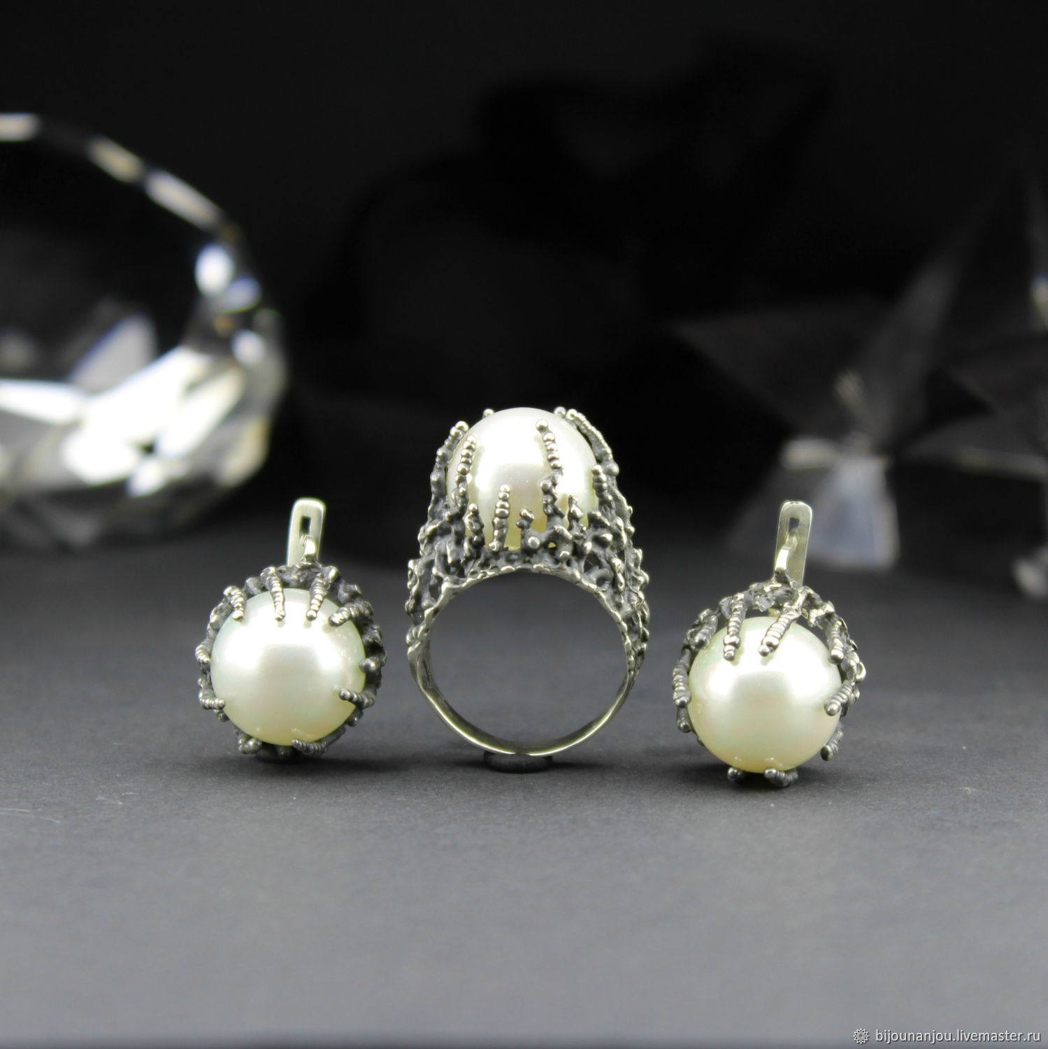 Earrings, ring and pendant with pearls of 925 silver, Jewelry Sets, Yerevan,  Фото №1