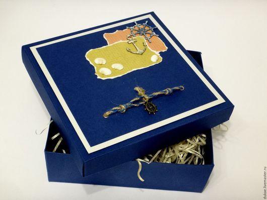 Подарочная упаковка ручной работы. Ярмарка Мастеров - ручная работа. Купить Подарочная коробка в морском стиле. Handmade. Тёмно-синий
