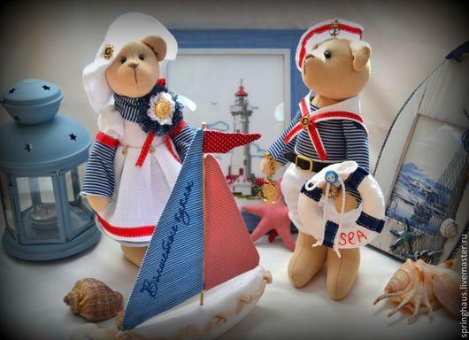 Игрушки животные, ручной работы. Ярмарка Мастеров - ручная работа. Купить Море-море...(интерьерная композиция из текстильных мишек в морском сти. Handmade.