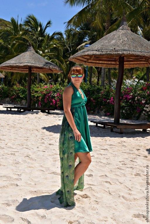 Платья ручной работы. Ярмарка Мастеров - ручная работа. Купить летнее платье. Handmade. Морская волна, летнее платье, шлейф