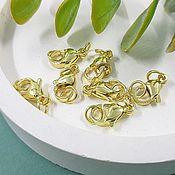 Материалы для творчества handmade. Livemaster - original item Lobster locks 12 mm with rings gilt (3600-Z). Handmade.