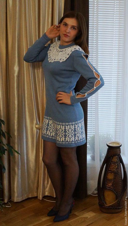 """Платья ручной работы. Ярмарка Мастеров - ручная работа. Купить Платье """"Синий иней"""". Handmade. Голубой, платье теплое"""