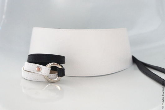 """Пояса, ремни ручной работы. Ярмарка Мастеров - ручная работа. Купить Белый кожаный пояс """"White"""". Handmade. Белый"""