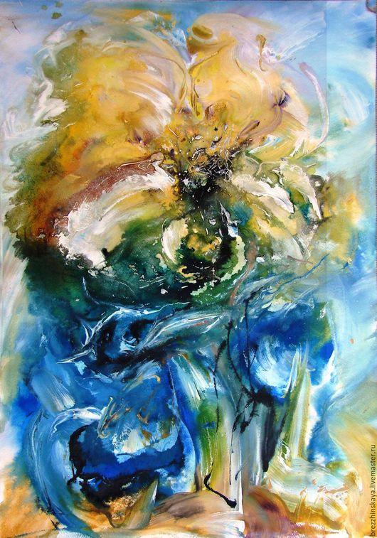 Картины цветов ручной работы. Ярмарка Мастеров - ручная работа. Купить Цветение.Абстрактный цветок.. Handmade. Цветы, картина в гостиную