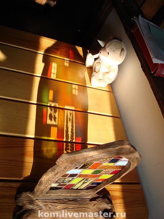 """Подсвечники ручной работы. Ярмарка Мастеров - ручная работа. Купить витраж """"домик в деревне"""". Handmade. Цветное стекло, медь"""