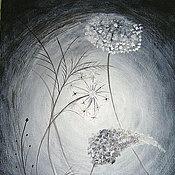 Картины и панно ручной работы. Ярмарка Мастеров - ручная работа Картина    Ночной  ковыль   ночь   черный   белый  туннель. Handmade.