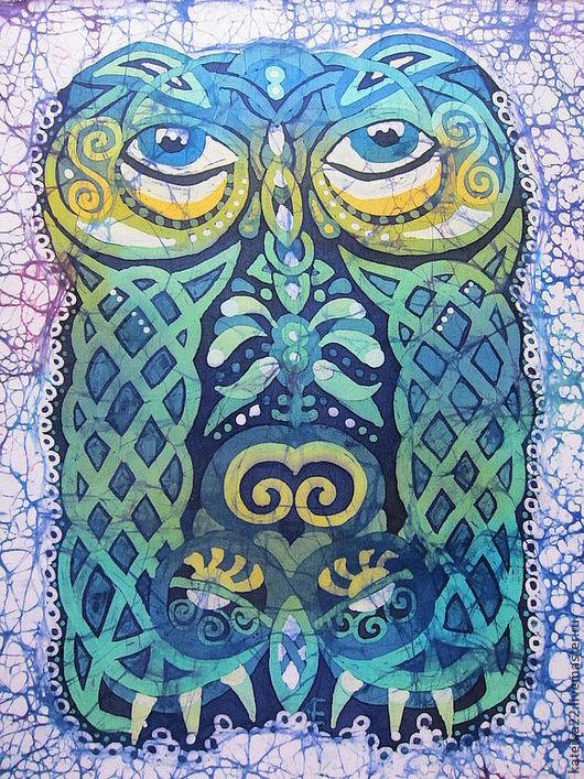 """Этно ручной работы. Ярмарка Мастеров - ручная работа. Купить Батик-картина """"Сова"""". Handmade. Сова, зеленый"""