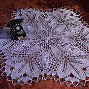 Салфетки ручной работы. Ярмарка Мастеров - ручная работа Салфетка Первоцвет, спицы, мерсеризованный хлопок. Handmade.