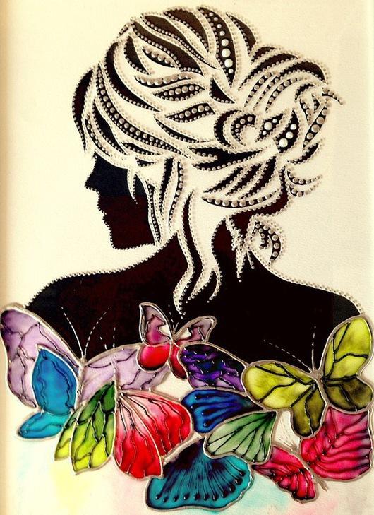 Люди, ручной работы. Ярмарка Мастеров - ручная работа. Купить картина на стекле, витражная роспись - Девушка с бабочками. Handmade. Черный