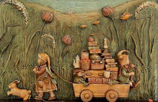"""Фантазийные сюжеты ручной работы. Ярмарка Мастеров - ручная работа. Купить Барельеф """"Однажды..."""" папье-маше, дерево. Handmade."""