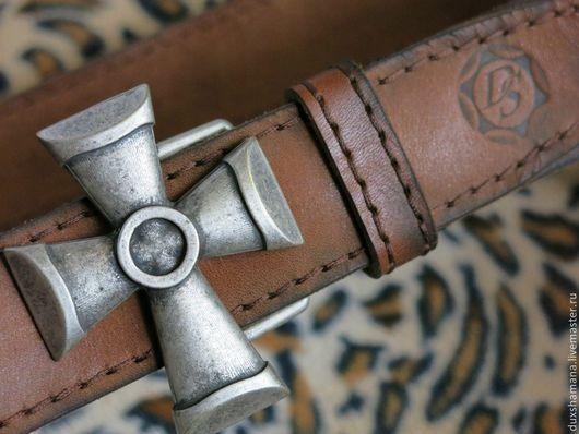 Пояса, ремни ручной работы. Ярмарка Мастеров - ручная работа. Купить Ремень кожаный коричневый с подпалом. Handmade. Коричневый