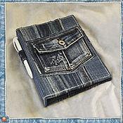 Канцелярские товары ручной работы. Ярмарка Мастеров - ручная работа Обложка джинсовая для сменного блока-2. Handmade.