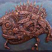 """Картины и панно ручной работы. Ярмарка Мастеров - ручная работа Картина """"Биомеханическая рыба"""" большая. Handmade."""