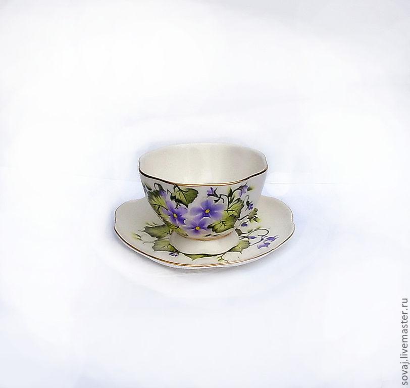 Decorative vase with painted 'Violets', Single Tea Sets, ,  Фото №1