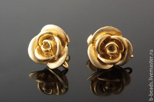 """Для украшений ручной работы. Ярмарка Мастеров - ручная работа. Купить Пуссеты """" Роза """" позолота. Handmade."""