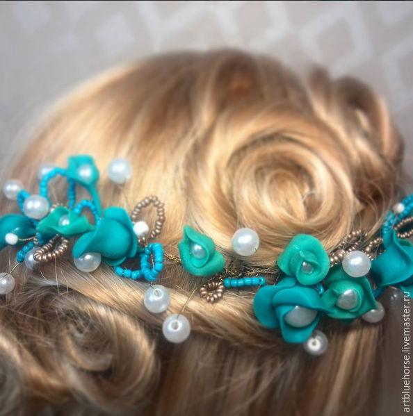 Бирюзовое украшение в волосы