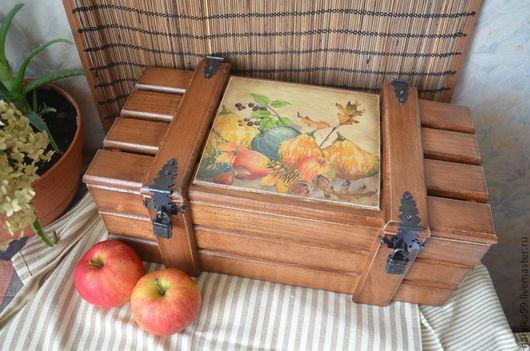 """Кухня ручной работы. Ярмарка Мастеров - ручная работа. Купить """"Тыквы"""" Ящик для хранения. Handmade. Коричневый, коробка, короб, дерево"""