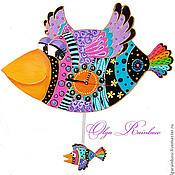 """Для дома и интерьера ручной работы. Ярмарка Мастеров - ручная работа Часы с маятником """"Галчонок учится летать"""". Handmade."""