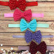 Работы для детей, handmade. Livemaster - original item The bow felt with print and elastic band. Handmade.
