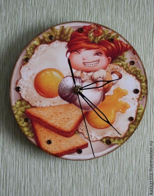 """Часы для дома ручной работы. Ярмарка Мастеров - ручная работа. Купить Часы """"Кухонная фея"""". Handmade. Желтый, 3d гель"""