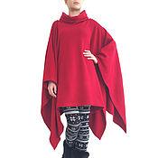 Одежда handmade. Livemaster - original item Poncho Cape dark red- CHILLY. Handmade.