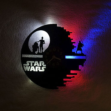 For home and interior handmade. Livemaster - original item Wall clock with backlight from vinyl records Star Wars. Handmade.