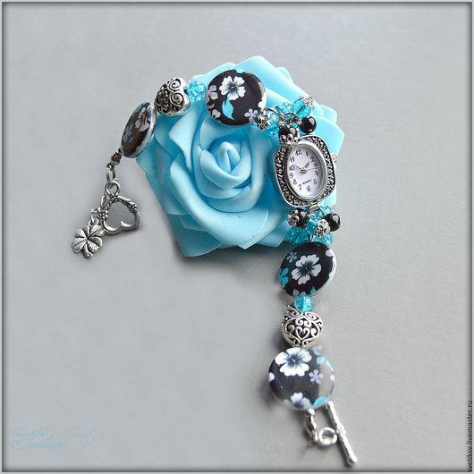 """Часы ручной работы. Ярмарка Мастеров - ручная работа. Купить Часы """" Бирюзовые цветы """". Handmade. Комбинированный, ракушка"""