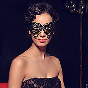 Одежда handmade. Livemaster - original item Leather carnival mask Black lace. Handmade.