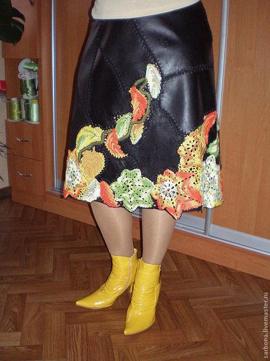 Юбки ручной работы. Ярмарка Мастеров - ручная работа. Купить Кожаная юбка Листопад. Handmade. Черный, вязание крючком на заказ