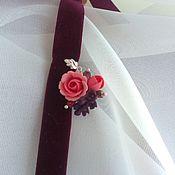 Украшения ручной работы. Ярмарка Мастеров - ручная работа Чокер с сиренью и розой цвета марсала. Handmade.