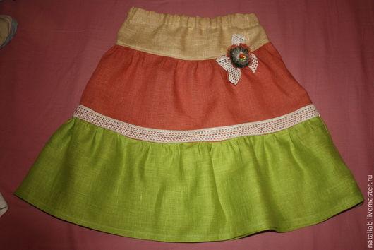 Одежда для девочек, ручной работы. Ярмарка Мастеров - ручная работа. Купить Детская льняная юбочка (един. экземпляр). Handmade.