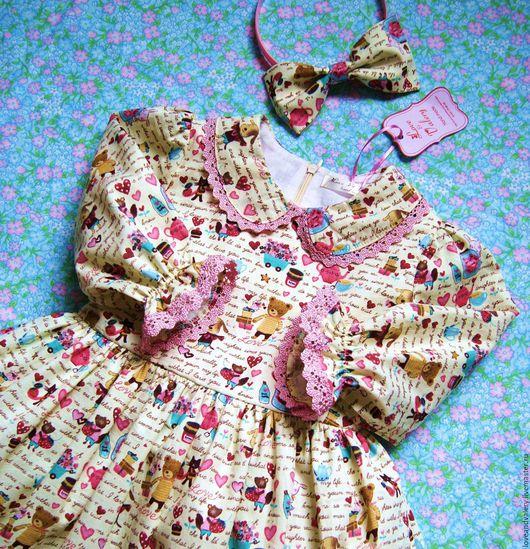 """Одежда для девочек, ручной работы. Ярмарка Мастеров - ручная работа. Купить Платье  """"Милашки мишки"""" для малышки. Handmade. Разноцветный"""