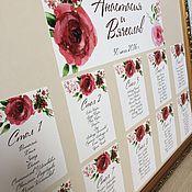 """Свадебный салон ручной работы. Ярмарка Мастеров - ручная работа План рассадки гостей """"Marsala Love"""" акварельные цветы. Handmade."""
