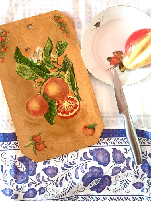 Кухня ручной работы. Ярмарка Мастеров - ручная работа. Купить Апельсиновая ветка. Handmade. Ручная роспись по дереву, бежевый